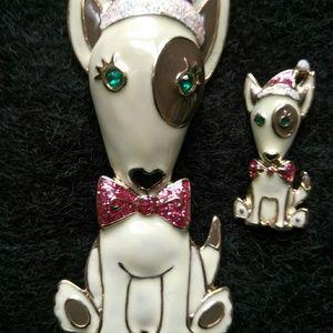Betsey Johnson Bull Terrier Dog Christmas Pins